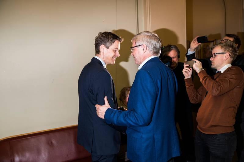 Debatt på Stortinget etter at Sylvi Listhaug har gått av som justisminister.Knut Arild Hareide og Kjell Magne Bondevik