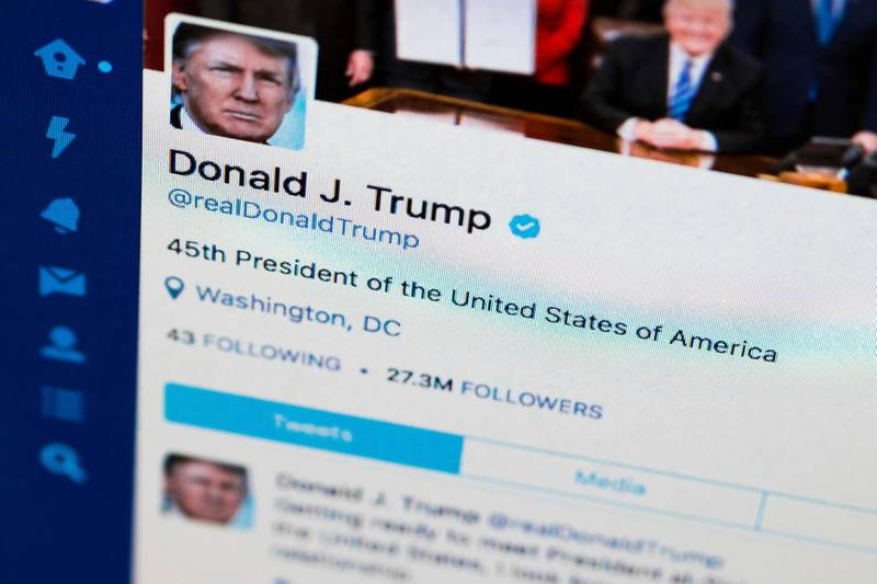 FILE - This April 3, 2017, file photo shows U.S. President Donald Trump's Twitter feed on a computer screen in Washington. President Donald Trump is claiming that Twitter has removed ?Äúmany people?Äù from his account. But he appears to have actually gained followers since the beginning of October. According to the Internet Archive?Äôs Wayback Machine, which collects snapshots of web pages over time, Trump had 54.8 million followers on Oct. 1. He had 55.3 million as of Friday, Oct. 26, 2018. (AP Photo/J. David Ake, File)