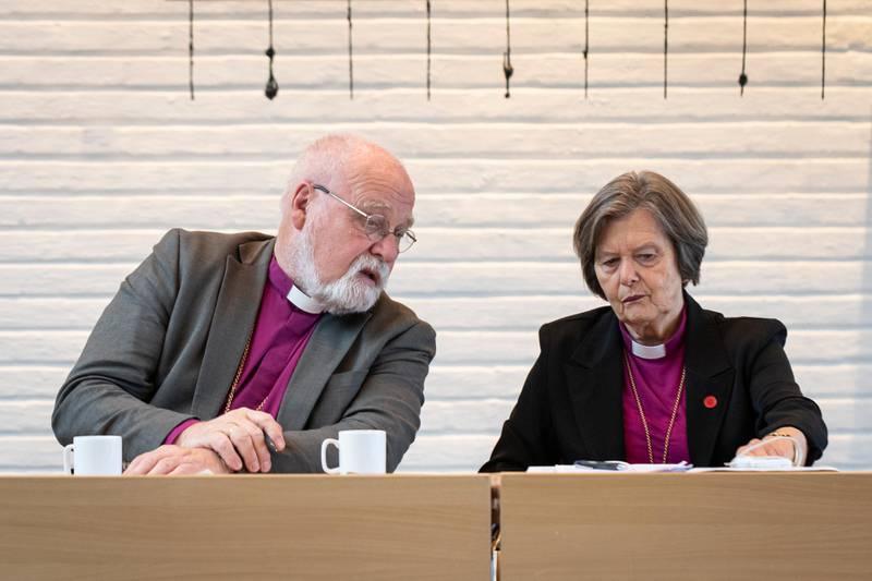 Pressekonferanse 17.10.19 med sittende preses Helga Haugland Byfuglien og biskop Atle Sommerfeldt i forbindelse med nominasjonen av ny preses. På Voksenåsen Konferansehotell.
