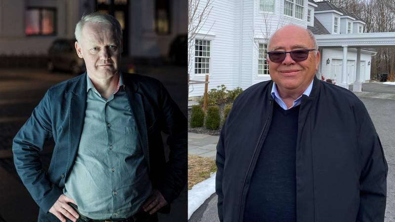 Bernt Aksel Larsen (t.v.) er tidligere styremedlem i Brunstad Christian Church (BCC). Sammen med BCCs øverste leder Kåre Smith (t.h.) ble han etterforsket i tre år av Økokrim for økonomisk utroskap. Nå er begge renvasket.
