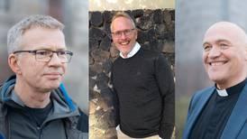 Tre menn på pallen. Den nye biskopen i Tunsberg blir en mann