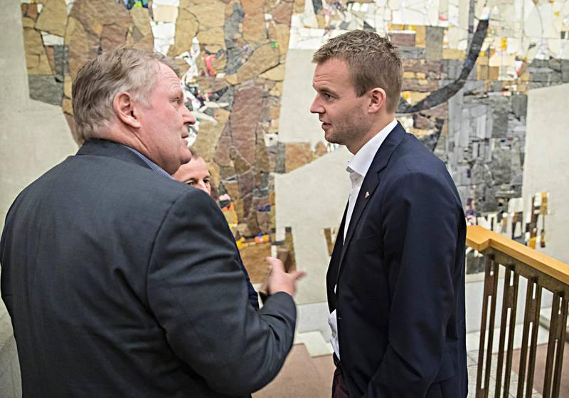 Oslo  20181030.F.v. Hans Fredrik Gr¯van og Kjell Ingolf Ropstad  (Krf) under  en prat i stortinget tirsdag.Foto: Vidar Ruud / NTB scanpix