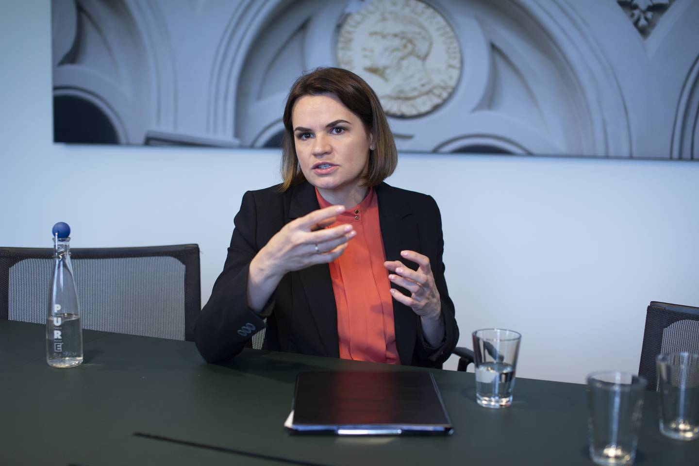 den hviterussiske opposisjonslederen svetlana tikhanovskaja besøkte fredag 13.08.21 nobels fredssenter