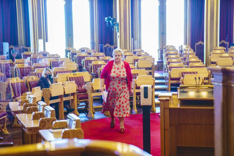 Regjeringen og statsminister Erna Solberg (H) har frontet den omstridte rusreformen, men torsdag blir nederlaget en realitet i Stortinget. Foto: Stian Lysberg Solum / NTB