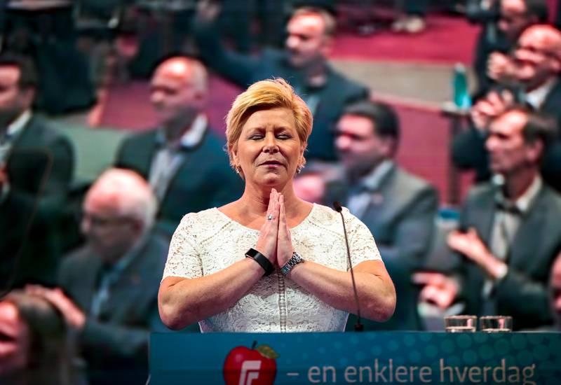 Gardermoen  20190503. Partileder Siv Jensen holder åpningstalen på Frp sitt landsmøte 2019.  Foto: Lise Åserud / NTB scanpix