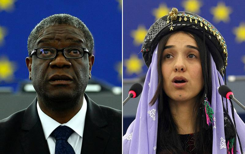 FILE - The combo of file photos shows Doctor Denis Mukwege, from the Democratic Republic of Congo, left, on Nov. 26, 2014 and Yazidi woman from Iraq, Nadia Murad on Dec. 13, 2016 as they both address the European parliament in Strasbourg, France. The Nobel Peace Prize on Friday, Oct. 5, 2018 was awarded to the Congolese doctor and a Yazidi former captive of the Islamic State group for their work to highlight and eliminate the use of sexual violence as a weapon of war. (AP Photos/Christian Lutz, file)