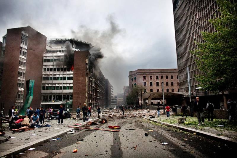 Slik så regjeringskvartalet ut minutter etter bomben gikk av.