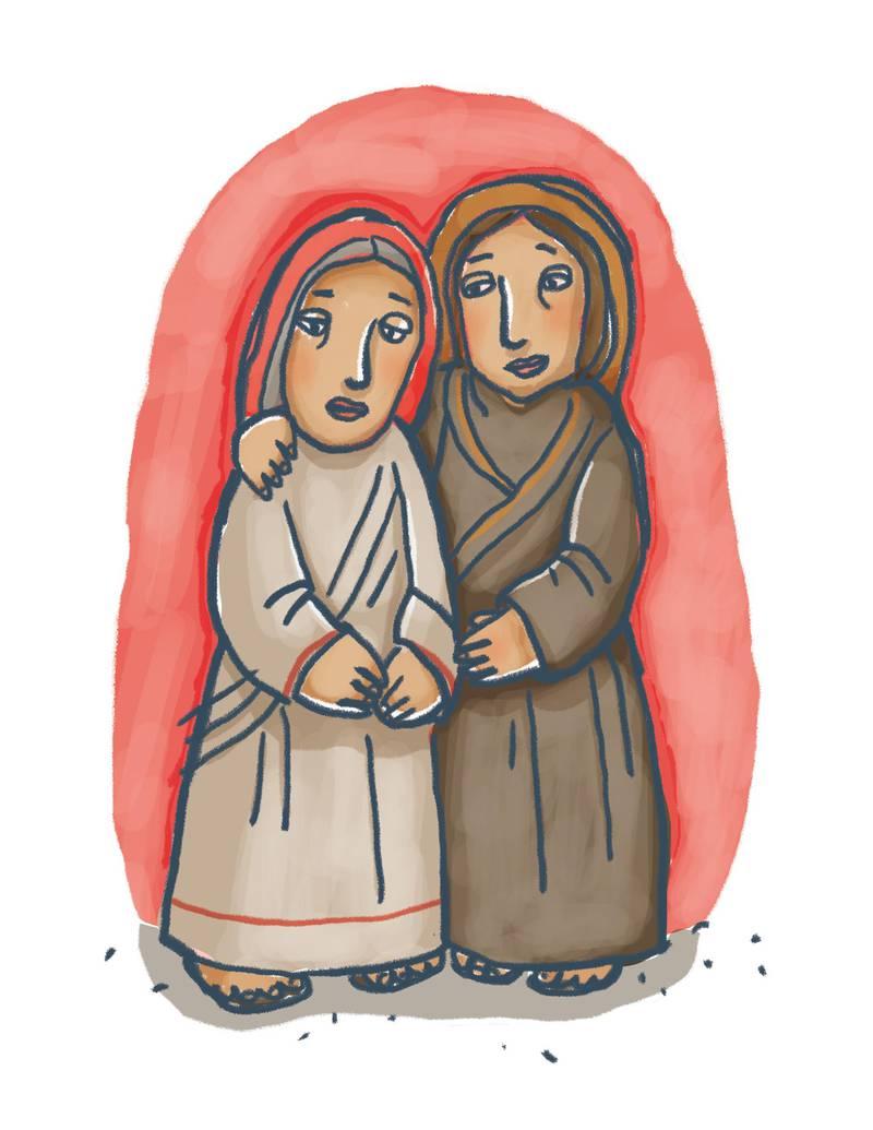 Det manglar kvinneforteljingar frå Bibelen i barnebøker. Her er Rut frå Det gamle Testamentet avbilda i boka  (IKO-Forlaget, 2019) av Tor Ivar Torgauten og Annlaug Auestad (ill.)