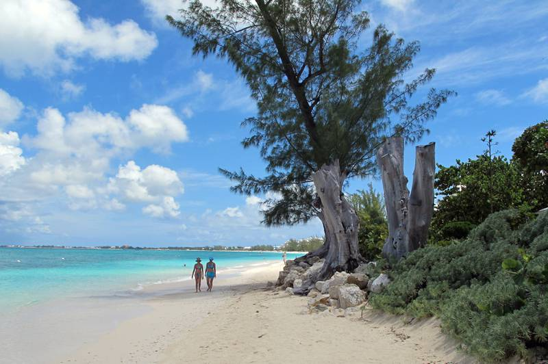 FILE - In this Aug. 3, 2012 file photo, tourists walk along the shore of Seven Mile Beach in Grand Cayman Island. The Caribbean boasts two new shark sanctuaries as the Cayman Islands and St. Maarten on Wednesday, June 15, 2016, declared their territorial waters covering some 49,190 square miles (119,631 square kilometres) closed to all commercial shark fishing. (AP Photo/David McFadden, File)