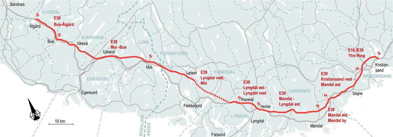 Den røde linja viser traseen som Nye Veier planlegger for ny E39 fra Kristiansand til Stavanger. Den grå linja viser dagens E39.