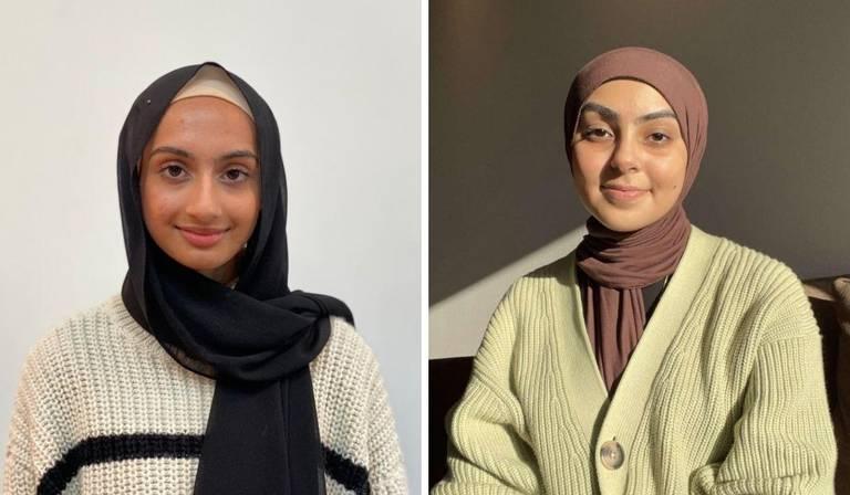 F.v: Ayesha Zaeem, 16 år, leder IRN ungdom og Zaira Khan, 15 år, komitemedlem IRN ungdom