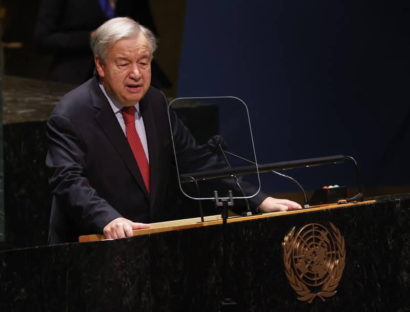 FN-sjef António Guterres sier han er sjokkert over drapene på Kongsberg. Foto: John Angelillo / Pool Photo via AP / NTB