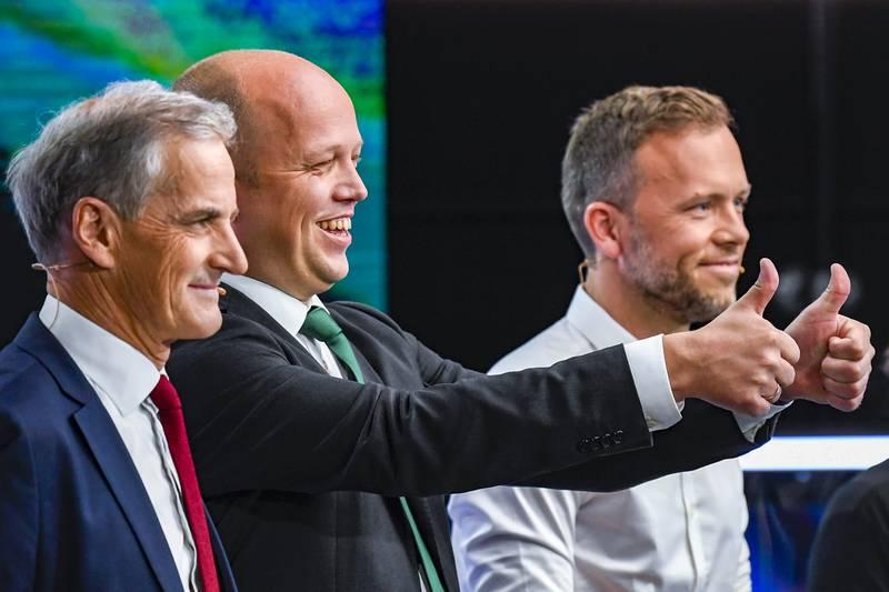 Bergen  20190904. Partilederdebatt på TV2. F.v. JonasGahr Støre (Ap), Trygve Slagsvold Vedum (Sp) og Audun Lysbakken (SV). Foto: Marit Hommedal / NTB