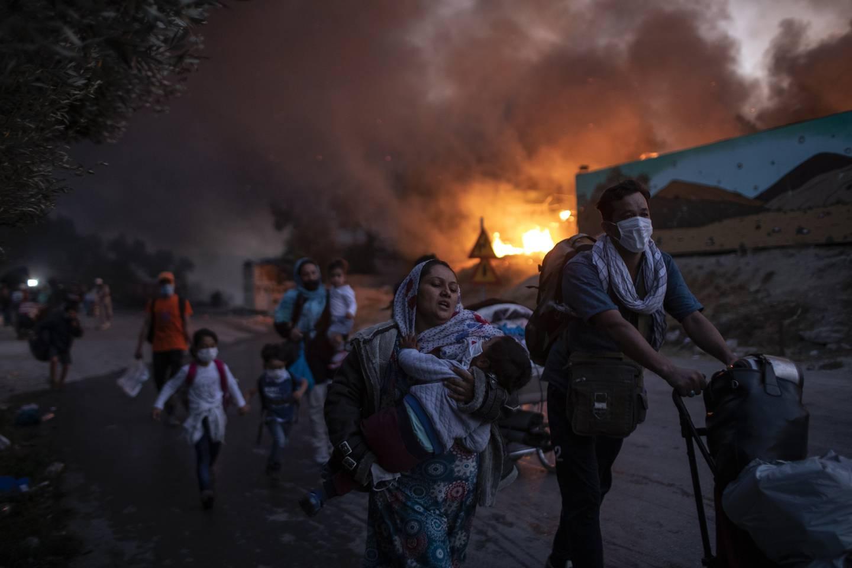 Moria-leiren brant ned i september. Foto: Petros Giannakouris / AP / NTB