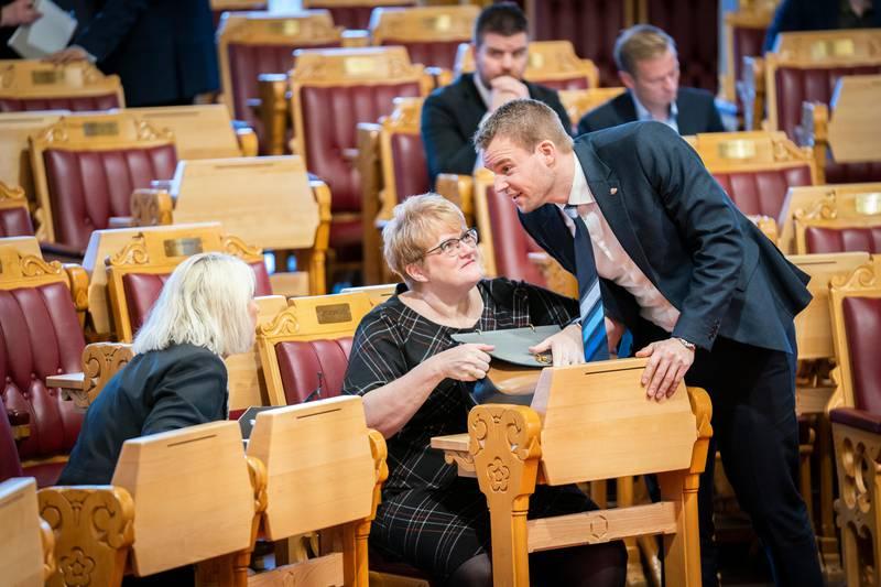 Stortinget. Første dag på Stortinget etter endringer i Regjeringen. Kjell Ingolf Ropstad og Trine Skei Grande