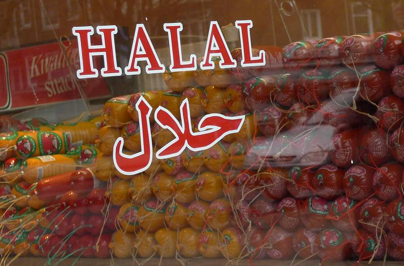 Halal butcher store in Amsterdam, Netherlands, Thursday March 31, 2011. The Dutch parliament may soon pass a law banning centuries-old Jewish and Muslim traditions on the ritual slaughter of cows, sheep and chickens. If the Netherlands does outlaw procedures that make meat kosher for Jews or Halal for Muslims, it will be the first country outside of New Zealand to do so in recent years. (AP Photo/Peter Dejong)