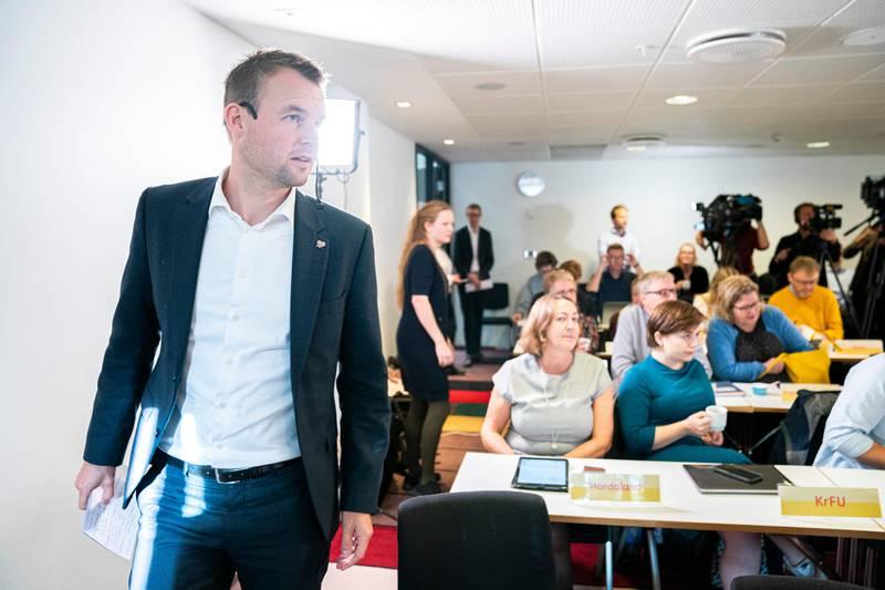 KrF-leder Kjell Ingolf Ropstad holder sin første tale til partiets landsstyre siden lokalvalget.