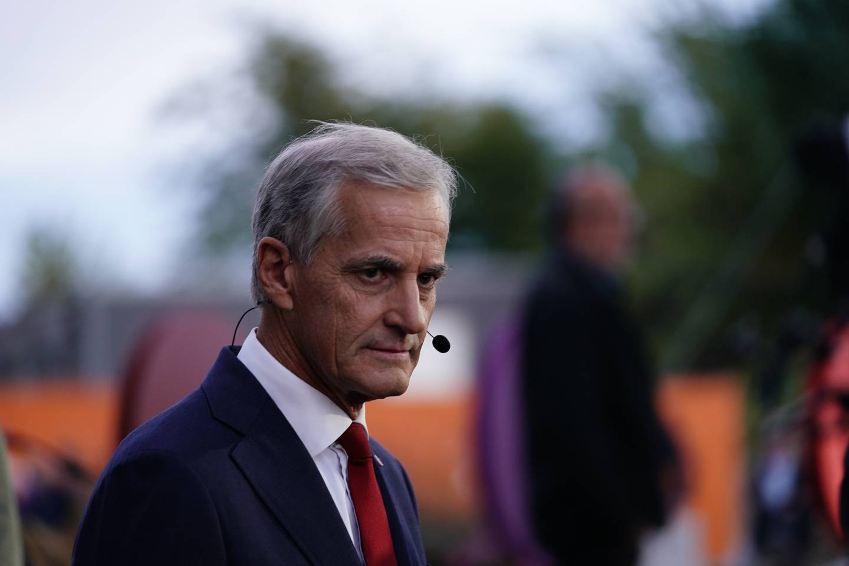 Jonas Gahr Støre under partilederdebatten i Arendal.