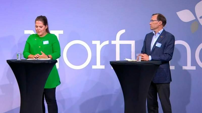 Lene Westgaard-Halle (H) og Espen Barth-Eide (Ap) sitter begge i Stortingets energi- og miljøkomité. De deltok i en panelsamtale om fornybar energi og utvikling på Norfunds årlige konferanse denne uka.