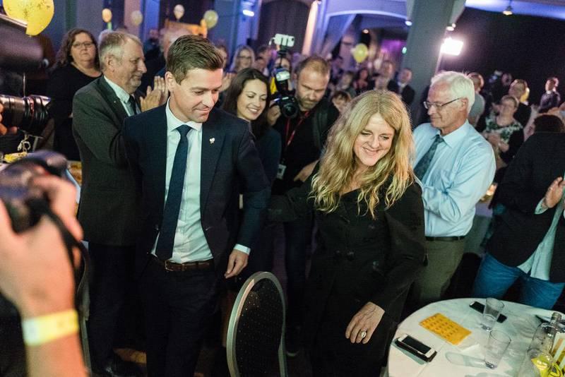 KrF-leder Knut Arild Hareide og generalsekretær Hilde Frafjord Johnson under partiets valgvake i september. KrF fikk 4,2 prosent – og det gjør også noe med sammensetningen av stortingsgruppa.