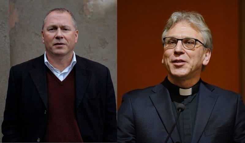 Nicolai Tangen, sjef for Oljefondet, og preses Olav Fykse Tveit.