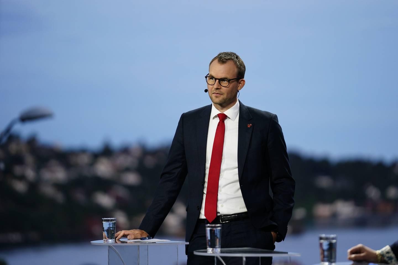 Kjell Ingolf Ropstad under partilederdebatten i Arendal.