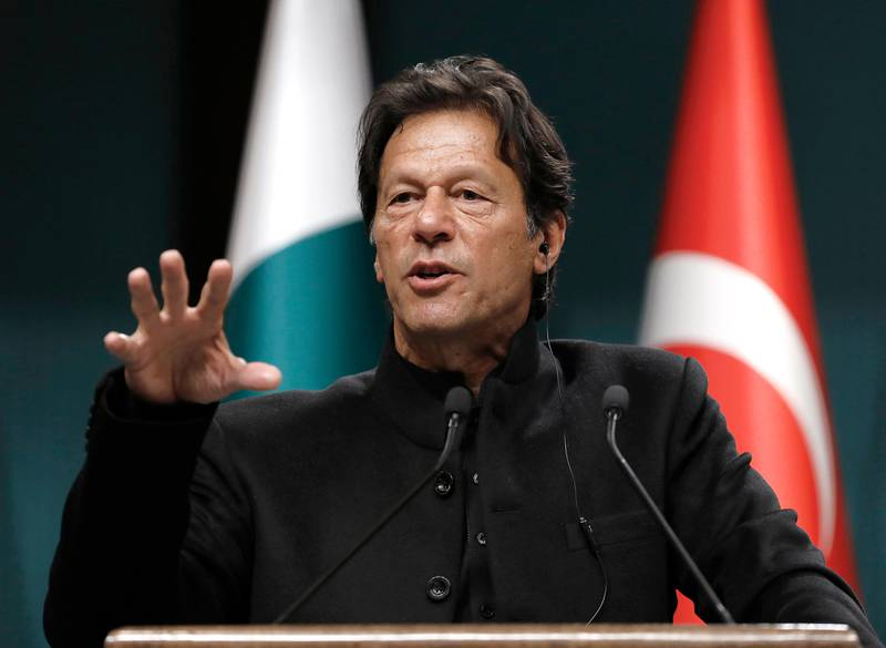 Pakistan's Prime Minister Imran Khan speaks during a joint news conference with Turkey's President Recep Tayyip Erdogan, in Ankara, Turkey, Friday, Jan. 4, 2019. Erdogan says his country will host the leaders of Pakistan and Afghanistan for a meeting geared toward bringing peace to Afghanistan. (AP Photo/Burhan Ozbilici)