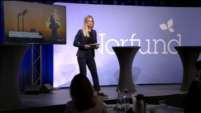 Dagfrid Forberg, nestleder i Zero på Norfunds konferanse 1. september 2020.