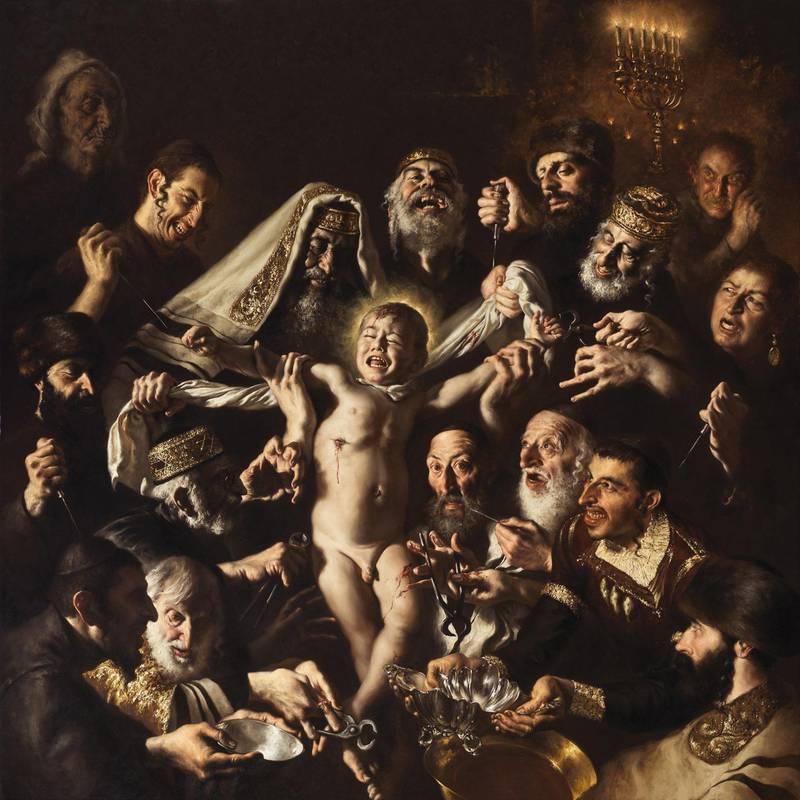 Den renommerte italienske maleren Giovanni Gasparro offentliggjorde nylig verket «St. Simon av Trents martyrium - et jødisk ritualmord». Maleriet spiller på gamle konspirasjonsteorier om jøder.