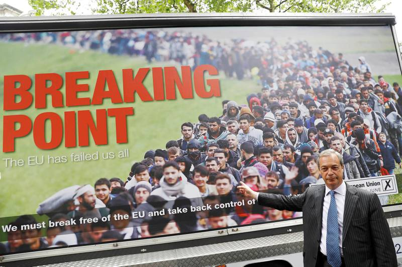 Leader of the United Kingdom Independence Party (UKIP) Nigel Farage poses during a media launch for an EU referendum poster in London, Britain June 16, 2016. REUTERS/Stefan Wermuth/File Photo
