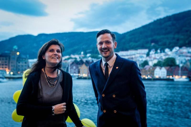Marita Moltu og Dag Inge Ulstein på KrFs valgvake i Bergen 2015.