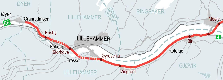 Nye Veiers plan for ny E6 forbi Lillehammer