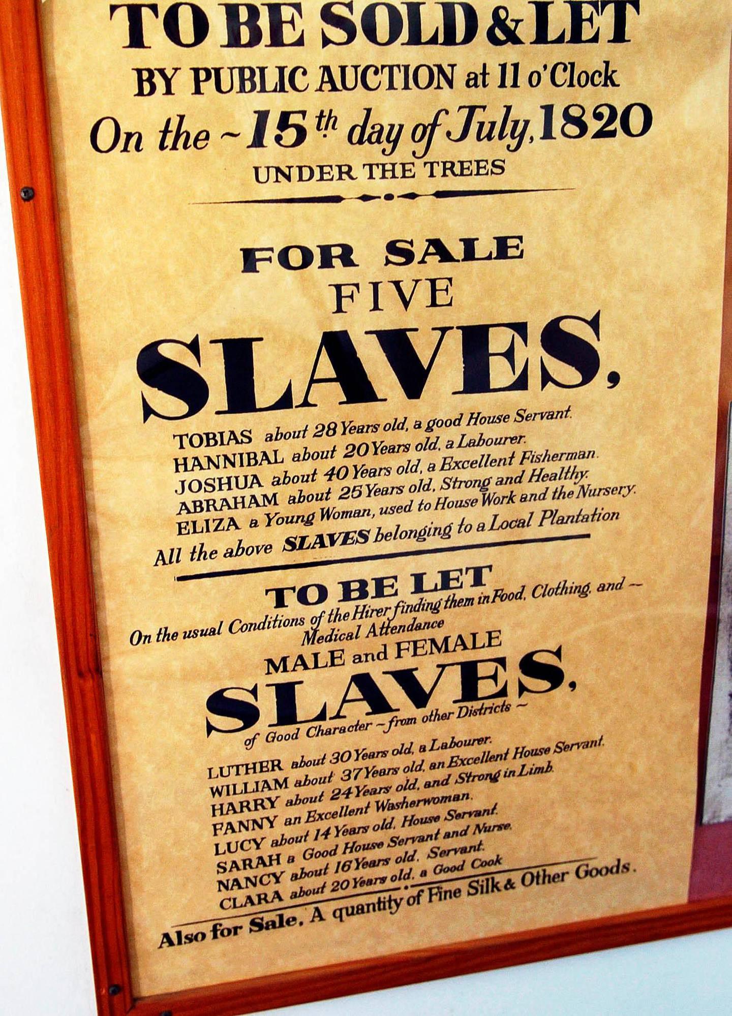 Slavesalgsplakat fra St. Thomas Foto Håvard Sæbø
