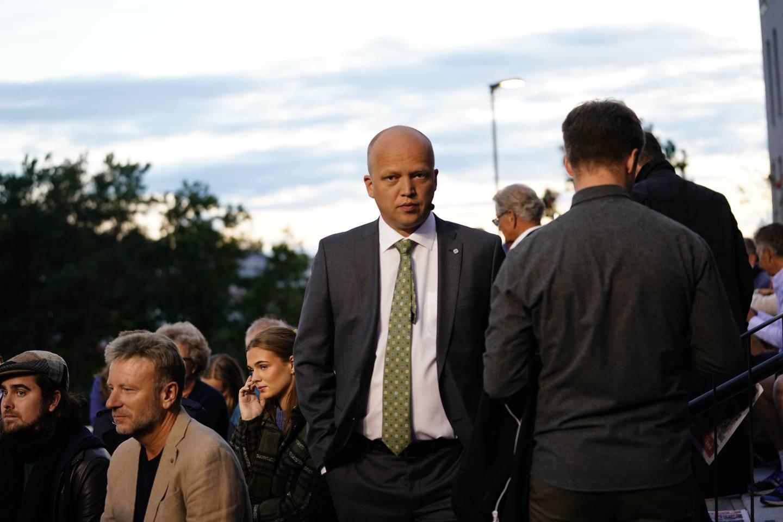Trygve Salgsvold Vedum under partilederdebatten i Arendal.