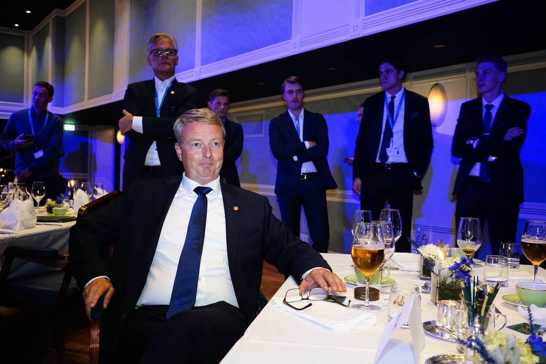 Terje Søviknes på Fremskrittspartiets valgvake på Hotel Bristol ved stortingsvalget 2021.