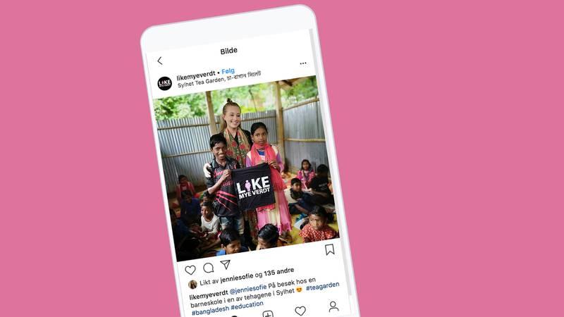 Når Normisjon deler et bilde fra Instagram-profil Jennie Sofie sitt besøk på en barneskole i Bangladesh, er det bare den norske jenta som blir nevnt ved navn. Selv om kampanjen heter Like mye verdt.