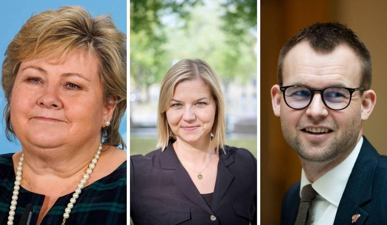 Erna Solberg (H), Guri Melby (V) og Kjell Ingolf Ropstad (KrF)