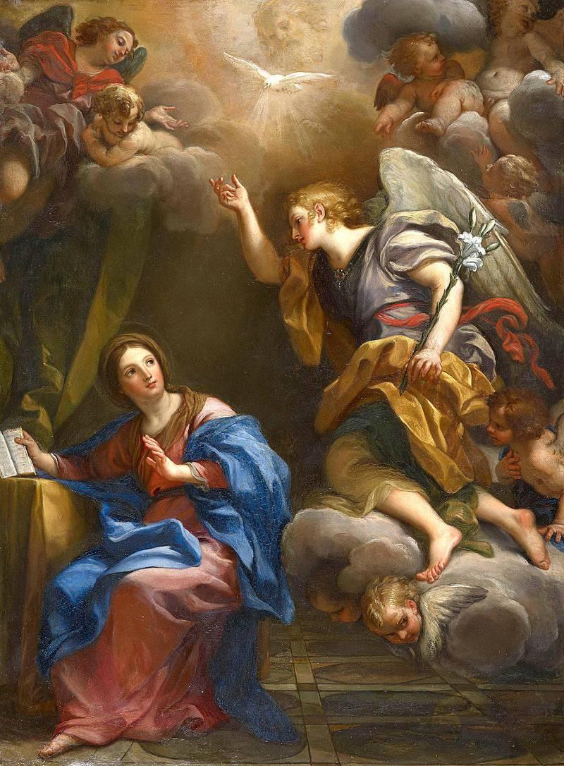 Mange kunstnere, som senbarokkens Carlo Maratti (1625–1713), har latt seg inspirere av den bibelske scenen for Maria bebudelse. Den unge jomfruen Maria oppsøkes av engelen Gabriel, som bebuder at hun skal bli med barn unnfanget ved Den hellige ånd.