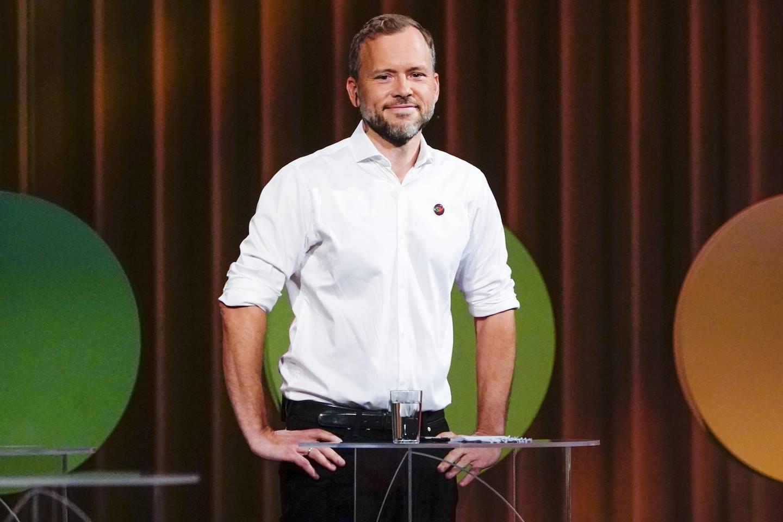 Leder i Sosialistisk Venstreparti Audun Lysbakken under den NRK-sendte partilederdebatten fra Stormen konserthus i Bodø fredag.