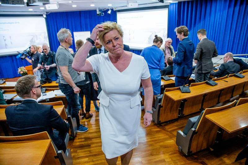 Oslo  20190514. Finansminister Siv Jensen etter pressekonferansen om revidert nasjonalbudsjett 2019. Foto: Stian Lysberg Solum / NTB scanpix