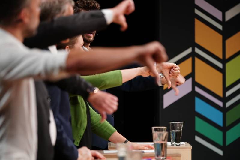 Trondheim  20190906. Tomler med under partilederdebatten på NRK fredag kveld. Foto: Ole Martin Wold / NTB scanpix