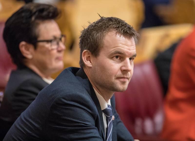 Oslo  20181203. KrF-nestleder Kjell Ingolf Ropstad under finansdebatten på Stortinget mandag.     Foto: Ole Berg-Rusten / NTB Scanpix