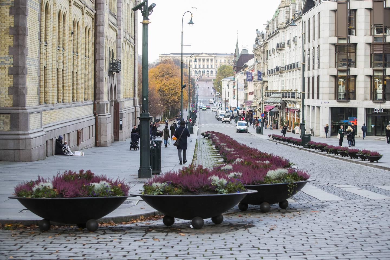 TERROR-TILTAK: Disse blomsterkassene på Karl Johan er blant det som skal skal hindre terror i Oslo. De ble satt opp i 2017. Hensikten er å hindre og forebygge at biler å oppnå stor fart.De siste årene har man sett flere eksempler på at kjøretøy har blitt brukt som et terror-våpen.