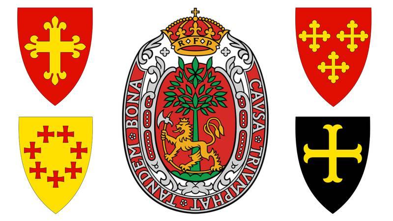 Flere kommunevåpen inneholder kristne symboler, som Jølster, Overhalla, Kristiansand, Vestby og Torsken.