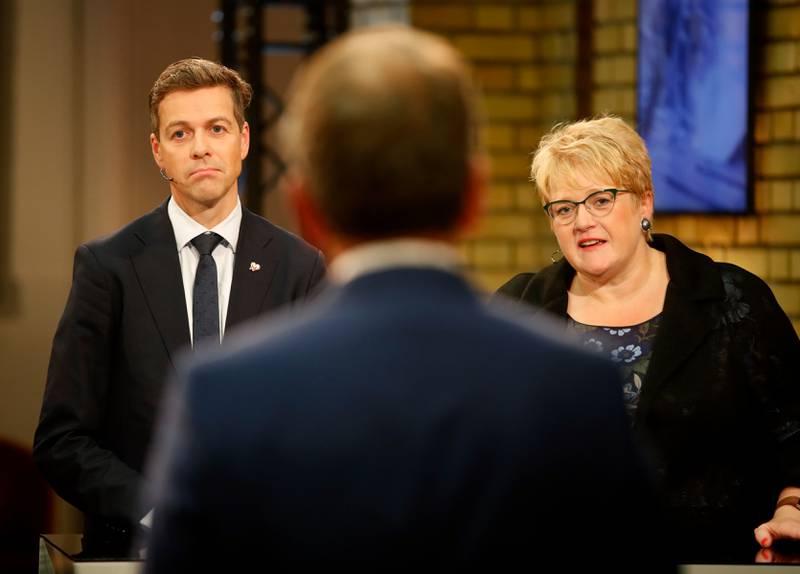 Både KrF og Venstre sliter fortsatt rundt sperregrensen, slik de gjorde under valget. Her er bildet av de to politikerne underpartilederdebatten på valgkvelden.