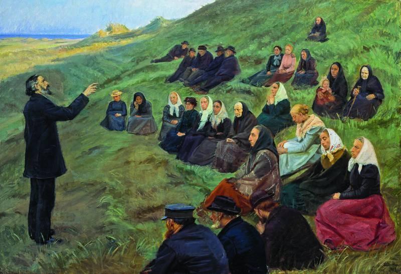 Anna Ancher, Et misjonsmøte, 1903, olje på lerret, 100,5 x 145 cm. Skagens Kunstmuseer
