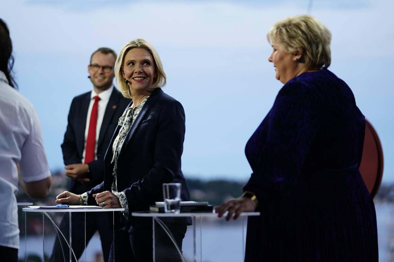 Sylvi Listhaug under partilederdebatten i Arendal.