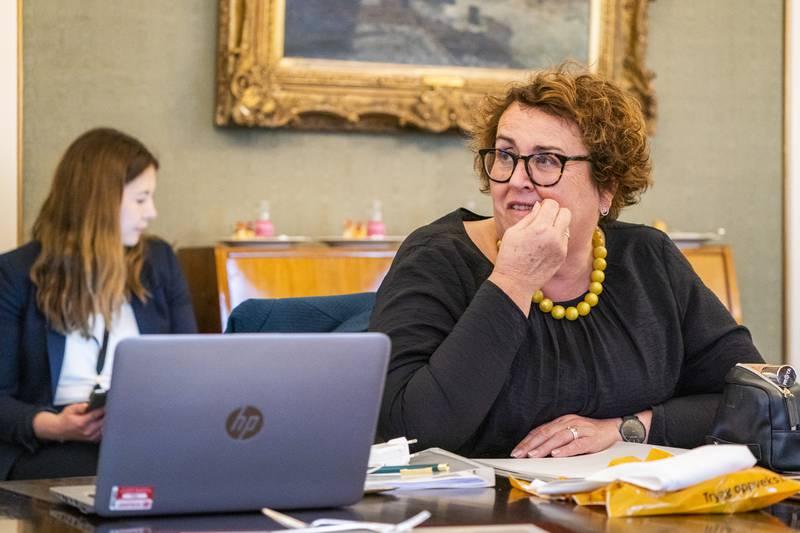 Oslo 20210429.  Nestleder Olaug Bollestad i en pause under KrFs landsmøte som avholdes digitalt fra Hotel Bristol i Oslo torsdag. Foto: Håkon Mosvold Larsen / NTB