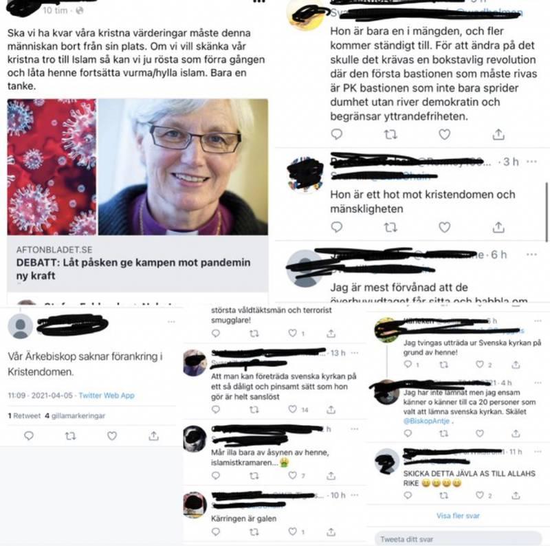 Skjermdump twitter. Her er noen av meldingene erkebiskop i Sverige, Antje Jackelén har måttet tåle de siste dagene.