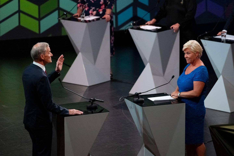 Arendal 20200813.  Jonas Gahr Støre (AP) og Siv Jensen (FrP) kveldens partilederdebatt under Arendalsuka 2020. Foto: Tor Erik Schrøder / NTB scanpix